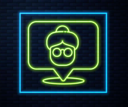 Glowing neon line Nursing home building icon isolated on brick wall background. Health care for old and sick people. Center for retired people. Vector