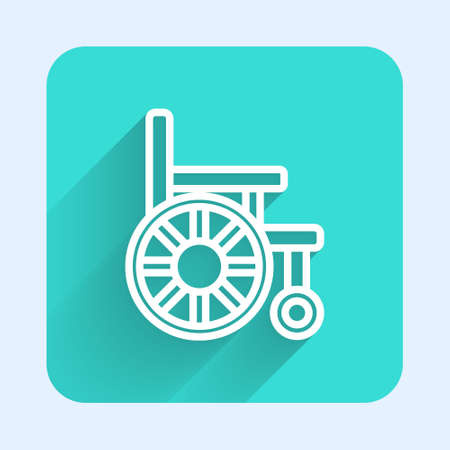 White line Wheelchair for disabled person icon isolated with long shadow. Green square button. Vector Иллюстрация