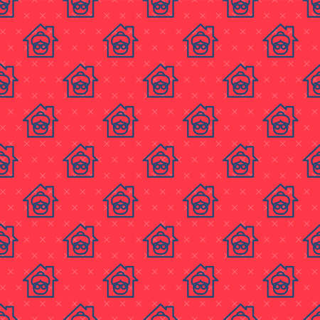 Blue line Nursing home building icon isolated seamless pattern on red background. Health care for old and sick people. Center for retired people. Vector