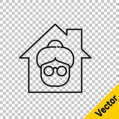 Black line Nursing home building icon isolated on transparent background. Health care for old and sick people. Center for retired people. Vector