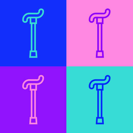 Pop art line Walking stick cane icon isolated on color background. Vector 向量圖像