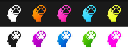 Set Human head with animals footprint icon isolated on black and white background. Pet paw in heart. Love to the animals. Vector
