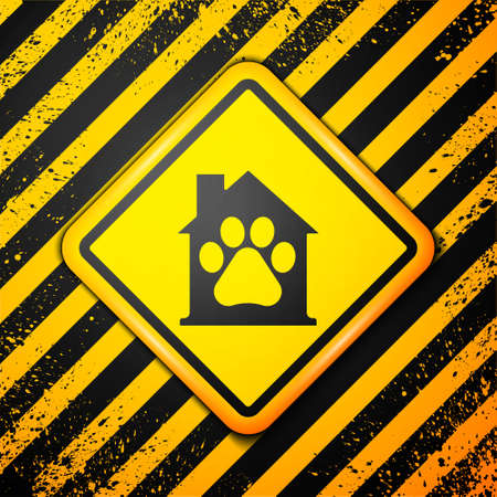Black Pet house icon isolated on yellow background. Warning sign. Vector Ilustrace