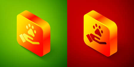 Isometric Hands with animals footprint icon isolated on green and red background. Pet paw in heart. Love to the animals. Square button. Vector