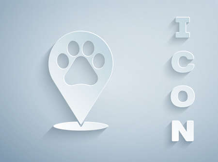 Paper cut Map pointer with veterinary medicine hospital, clinic or pet shop for animals icon isolated on grey background. Vet or veterinarian clinic. Paper art style. Vector