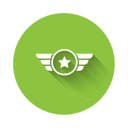 White Star American military icon isolated with long shadow. Military badges. Army patches. Green circle button. Vector