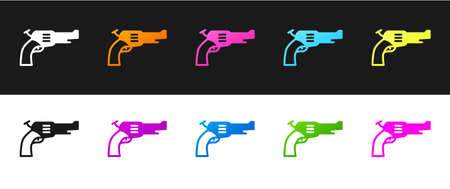 Set Revolver gun icon isolated on black and white background. Vector