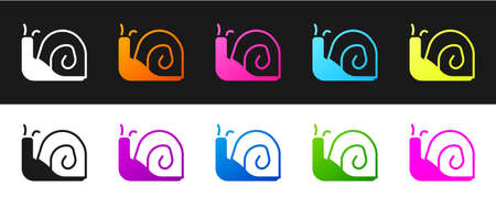 Set Snail icon isolated on black and white background. Vector
