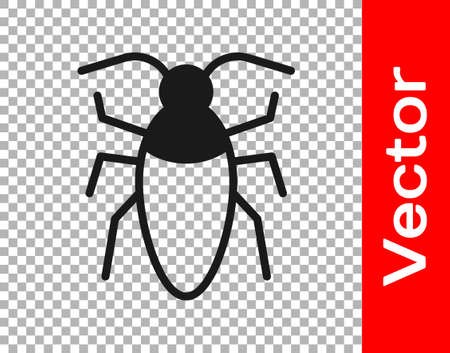 Black Cockroach icon isolated on transparent background. Vector