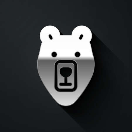 Silver Bear head icon isolated on black background. Long shadow style. Vector