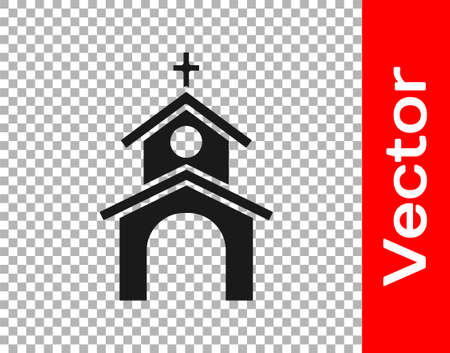 Black Church building icon isolated on transparent background. Christian Church. Religion of church. Vector