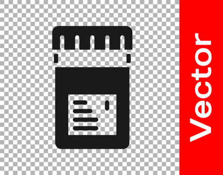 Black Biologically active additives icon isolated on transparent background. Vector