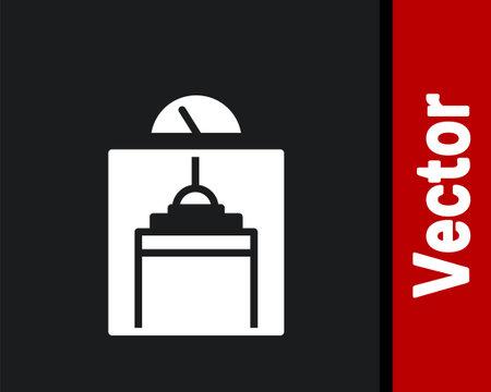 White Lift icon isolated on black background. Elevator symbol. Vector