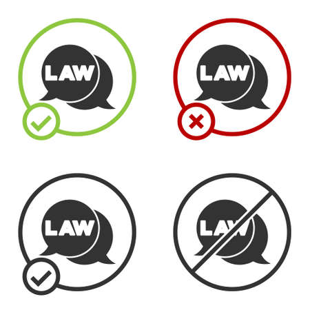 Black Law icon isolated on white background. Circle button. Vector
