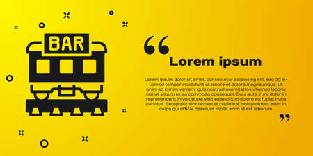 Black Restaurant train icon isolated on yellow background. Vector