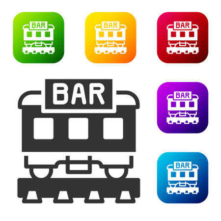 Black Restaurant train icon isolated on white background. Set icons in color square buttons. Vector