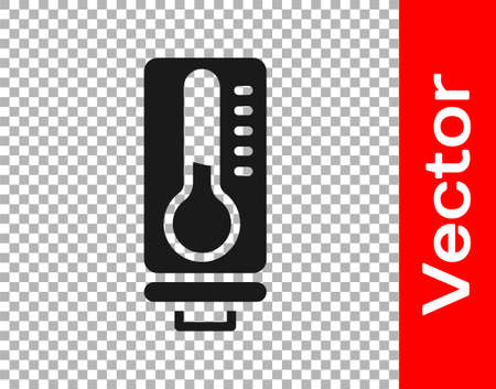 Black Meteorology thermometer measuring heat and cold icon isolated on transparent background. Thermometer equipment showing hot or cold weather. Vector Vektorové ilustrace