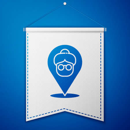 Blue Nursing home building icon isolated on blue background. Health care for old and sick people. Center for retired people. White pennant template. Vector Векторная Иллюстрация