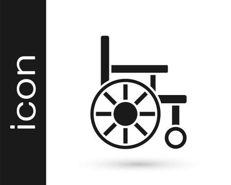 Black Wheelchair for disabled person icon isolated on white background. Vector 向量圖像