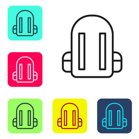 Black line School backpack icon isolated on white background. Set icons in color square buttons. Vector Illustration