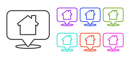 Black line Map pointer with house icon isolated on white background. Home location marker symbol. Set icons colorful. Vector Illustration
