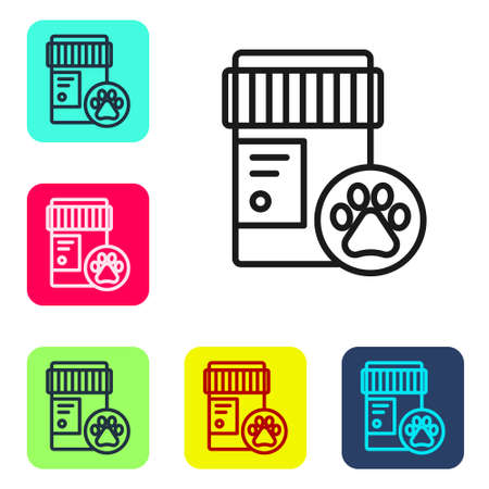 Black line Dog medicine bottle icon isolated on white background. Container with pills. Prescription medicine for animal. Set icons in color square buttons. Vector Ilustrace