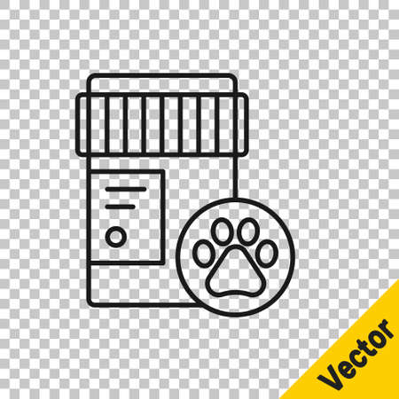 Black line Dog medicine bottle icon isolated on transparent background. Container with pills. Prescription medicine for animal. Vector