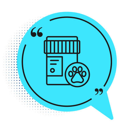 Black line Dog medicine bottle icon isolated on white background. Container with pills. Prescription medicine for animal. Blue speech bubble symbol. Vector