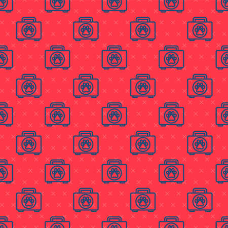 Blue line Pet first aid kit icon isolated seamless pattern on red background. Dog or cat paw print. Clinic box. Vector