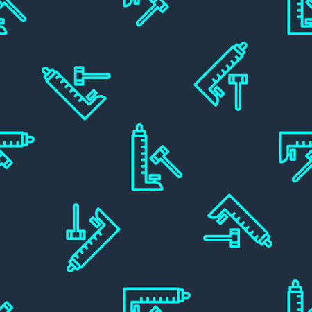 Green line High striker attraction with big hammer icon isolated seamless pattern on blue background. Attraction for measuring strength. Amusement park. Vector Stock Illustratie