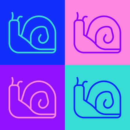 Pop art line Snail icon isolated on color background. Vector