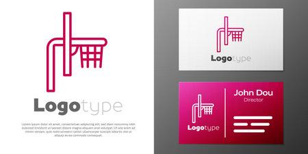 Logotype line Basketball backboard icon isolated on white background. Logo design template element. Vector