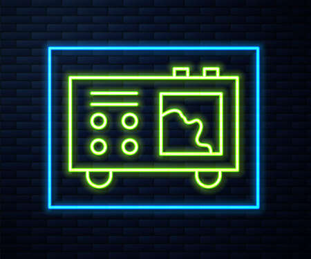 Glowing neon line Spectrometer icon isolated on brick wall background. Vector