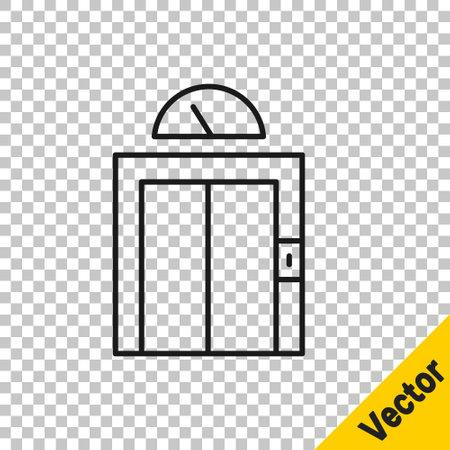 Black line Lift icon isolated on transparent background. Elevator symbol. Vector