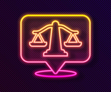 Glowing neon line Scales of justice icon isolated on black background. Court of law symbol. Balance scale sign. Vector Illustration