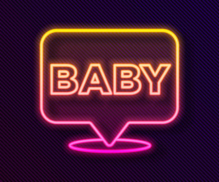 Glowing neon line Baby icon isolated on black background. Vector