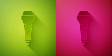 Paper cut Microphone icon isolated on green and pink background. On air radio mic microphone. Speaker sign. Paper art style. Vector Illustration  イラスト・ベクター素材
