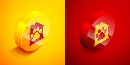 Isometric Pet house icon isolated on orange and red background. Circle button. Vector