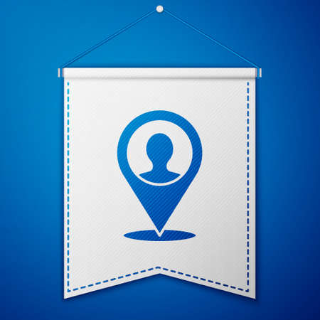 Blue Map marker with a silhouette of a person icon isolated on blue background. GPS location symbol. White pennant template. Vector