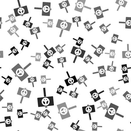 Black Peace icon isolated seamless pattern on white background. Hippie symbol of peace. Vector Ilustrace