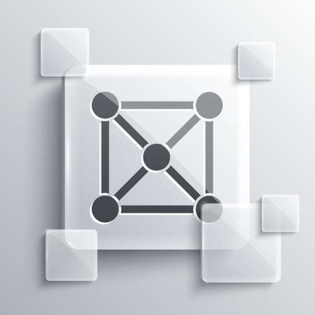 Grey Blockchain technology icon isolated on grey background. Cryptocurrency data. Abstract geometric block chain network technology business. Square glass panels. Vector