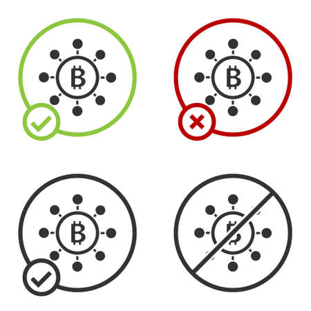 Black Blockchain technology Bitcoin icon isolated on white background. Abstract geometric block chain network technology business. Circle button. Vector Ilustracja
