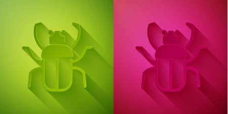 Paper cut Stink bug icon isolated on green and pink background. Paper art style. Vector Ilustrace
