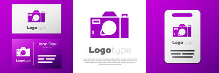 Logotype Photo camera icon isolated on white background. Foto camera icon. Logo design template element. Vector