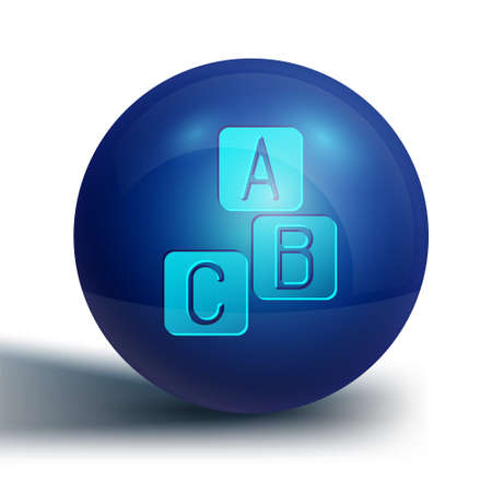 Blue ABC blocks icon isolated on white background. Alphabet cubes with letters A,B,C. Blue circle button. Vector