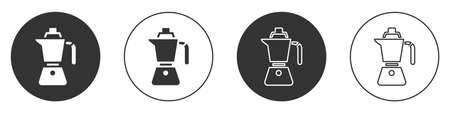 Black Coffee maker moca pot icon isolated on white background. Circle button. Vector Иллюстрация