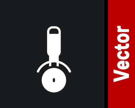 White Pizza knife icon isolated on black background. Pizza cutter sign. Steel kitchenware equipment. Vector