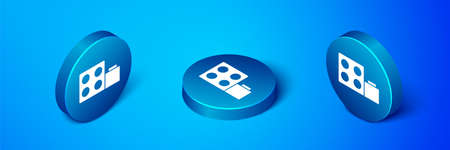 Isometric Toy building block bricks for children icon isolated on blue background. Blue circle button. Vector