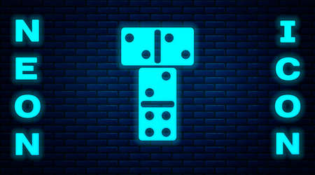 Glowing neon Domino icon isolated on brick wall background. Vector