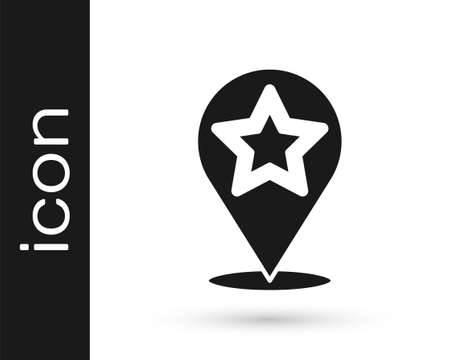 Black Map pointer with star icon isolated on white background. Star favorite pin map icon. Map markers. Vector